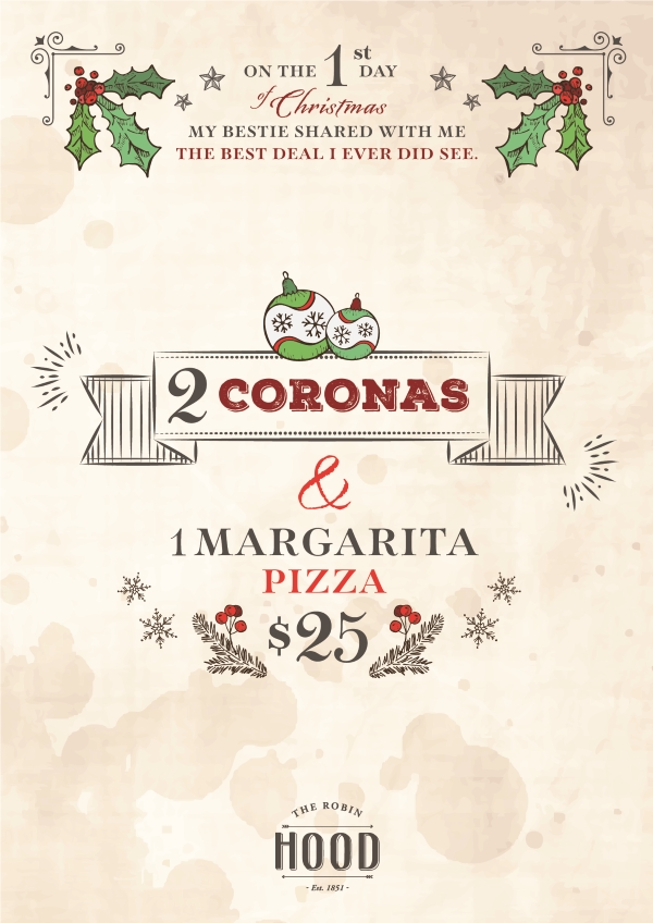 2 Coronas and a Margarita Pizza @ $25
