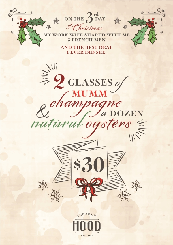 2 glass's of Mumm Champagne  & a dozen natural oysters @ $30.