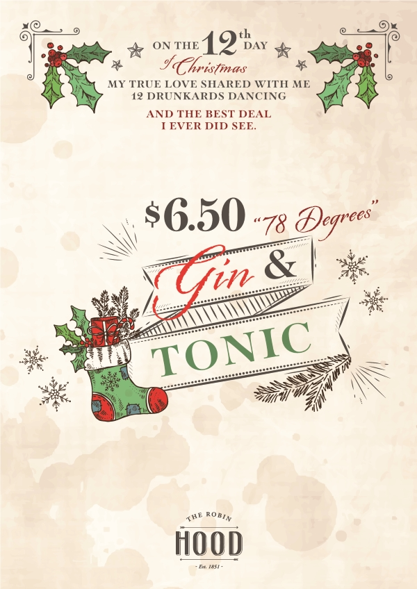 $6.50 78 Degree Gin & Tonic